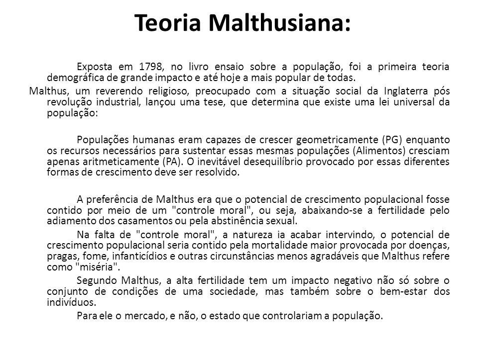 Teoria Malthusiana: Exposta em 1798, no livro ensaio sobre a população, foi a primeira teoria demográfica de grande impacto e até hoje a mais popular