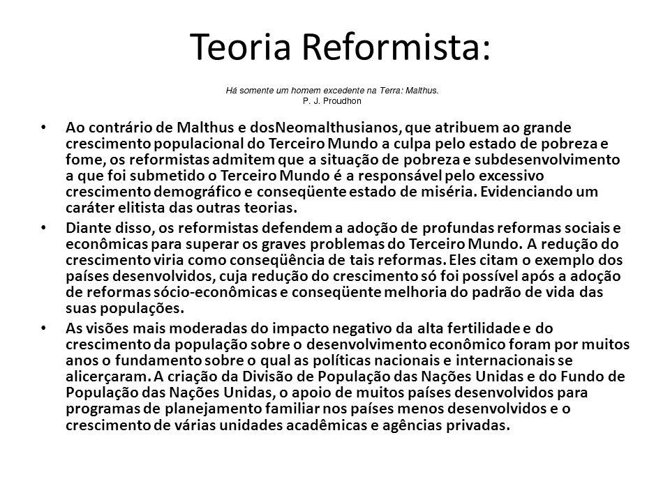 Teoria Reformista: Ao contrário de Malthus e dosNeomalthusianos, que atribuem ao grande crescimento populacional do Terceiro Mundo a culpa pelo estado
