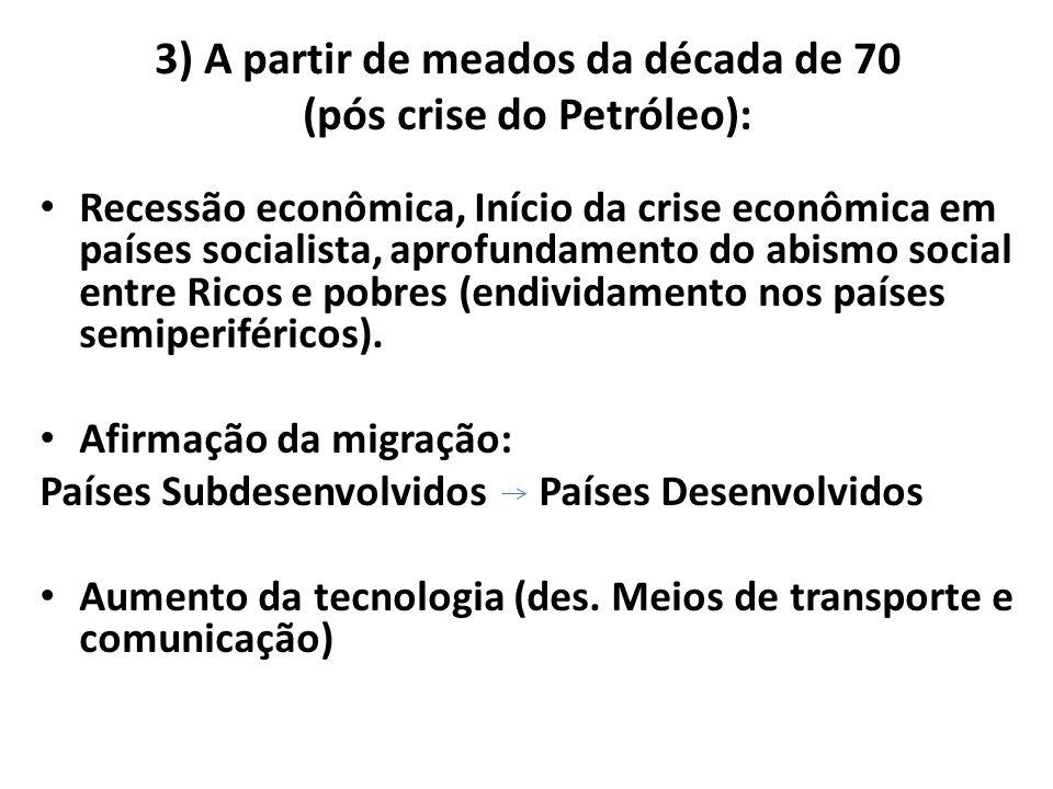 3) A partir de meados da década de 70 (pós crise do Petróleo): Recessão econômica, Início da crise econômica em países socialista, aprofundamento do a