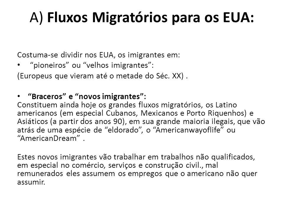 """A) Fluxos Migratórios para os EUA: Costuma-se dividir nos EUA, os imigrantes em: """"pioneiros"""" ou """"velhos imigrantes"""": (Europeus que vieram até o metade"""