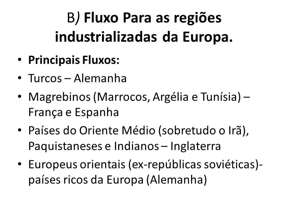 B) Fluxo Para as regiões industrializadas da Europa. Principais Fluxos: Turcos – Alemanha Magrebinos (Marrocos, Argélia e Tunísia) – França e Espanha