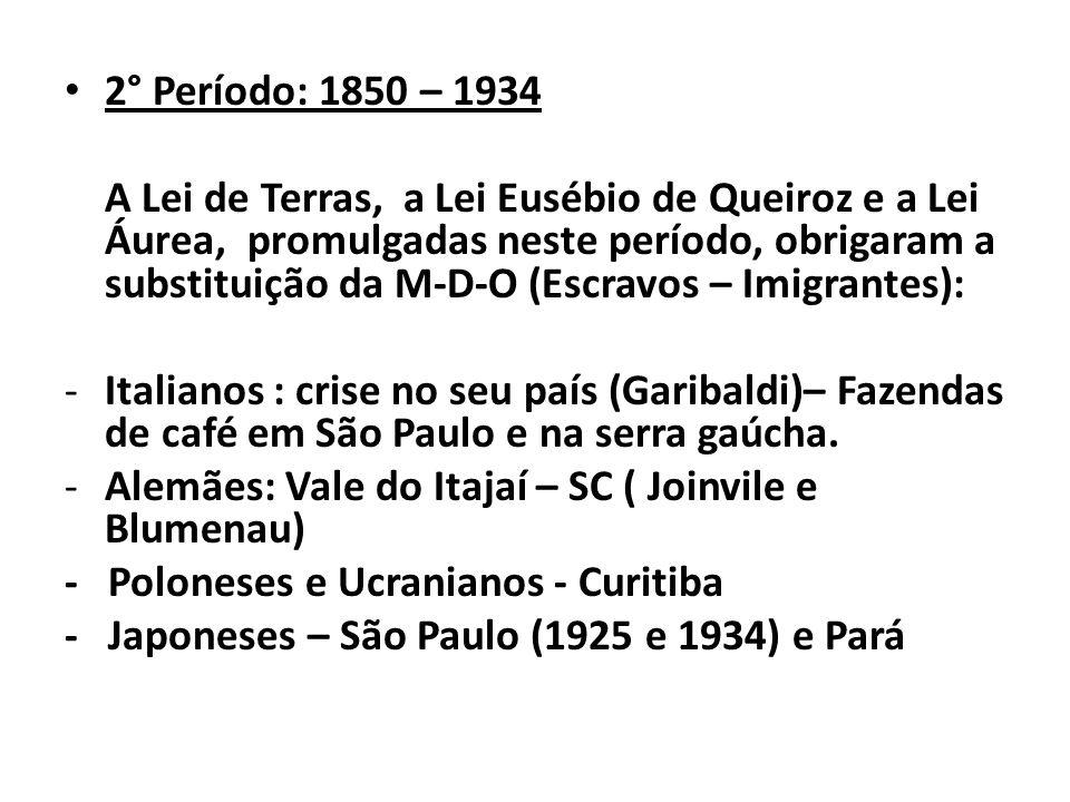 2° Período: 1850 – 1934 A Lei de Terras, a Lei Eusébio de Queiroz e a Lei Áurea, promulgadas neste período, obrigaram a substituição da M-D-O (Escravo