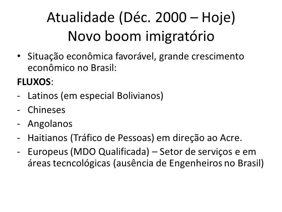 Atualidade (Déc. 2000 – Hoje) Novo boom imigratório Situação econômica favorável, grande crescimento econômico no Brasil: FLUXOS: -Latinos (em especia