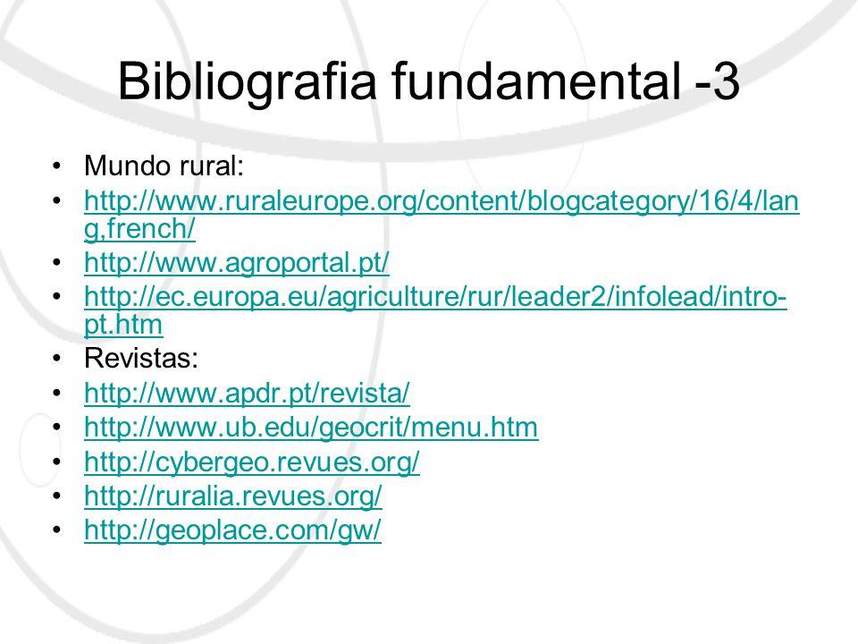 Bibliografia fundamental -3 Mundo rural: http://www.ruraleurope.org/content/blogcategory/16/4/lan g,french/http://www.ruraleurope.org/content/blogcategory/16/4/lan g,french/ http://www.agroportal.pt/ http://ec.europa.eu/agriculture/rur/leader2/infolead/intro- pt.htmhttp://ec.europa.eu/agriculture/rur/leader2/infolead/intro- pt.htm Revistas: http://www.apdr.pt/revista/ http://www.ub.edu/geocrit/menu.htm http://cybergeo.revues.org/ http://ruralia.revues.org/ http://geoplace.com/gw/