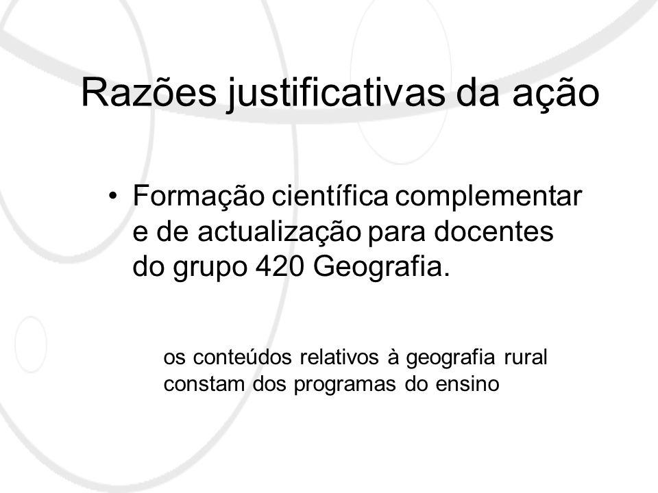 Razões justificativas da ação Formação científica complementar e de actualização para docentes do grupo 420 Geografia.