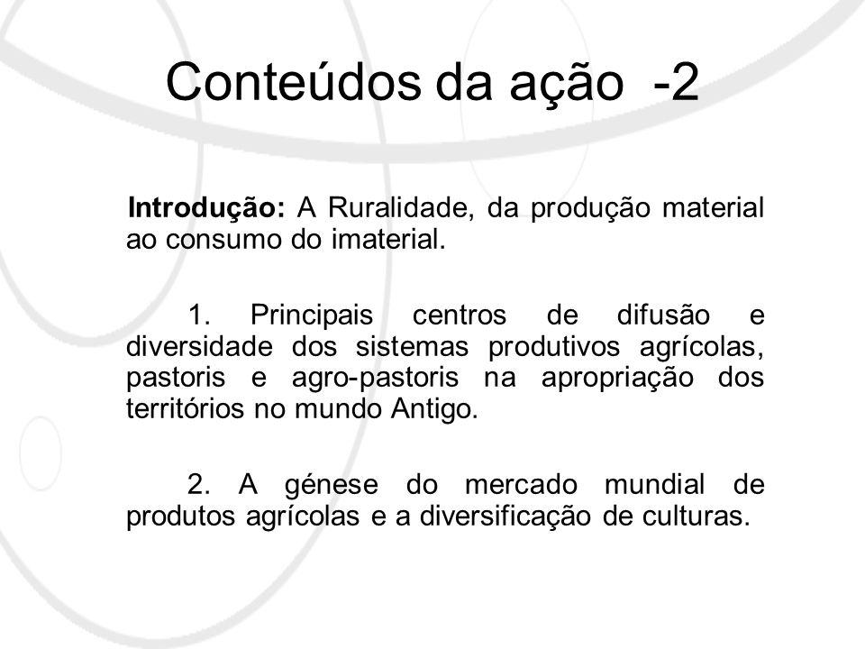 Conteúdos da ação -2 Introdução: A Ruralidade, da produção material ao consumo do imaterial.