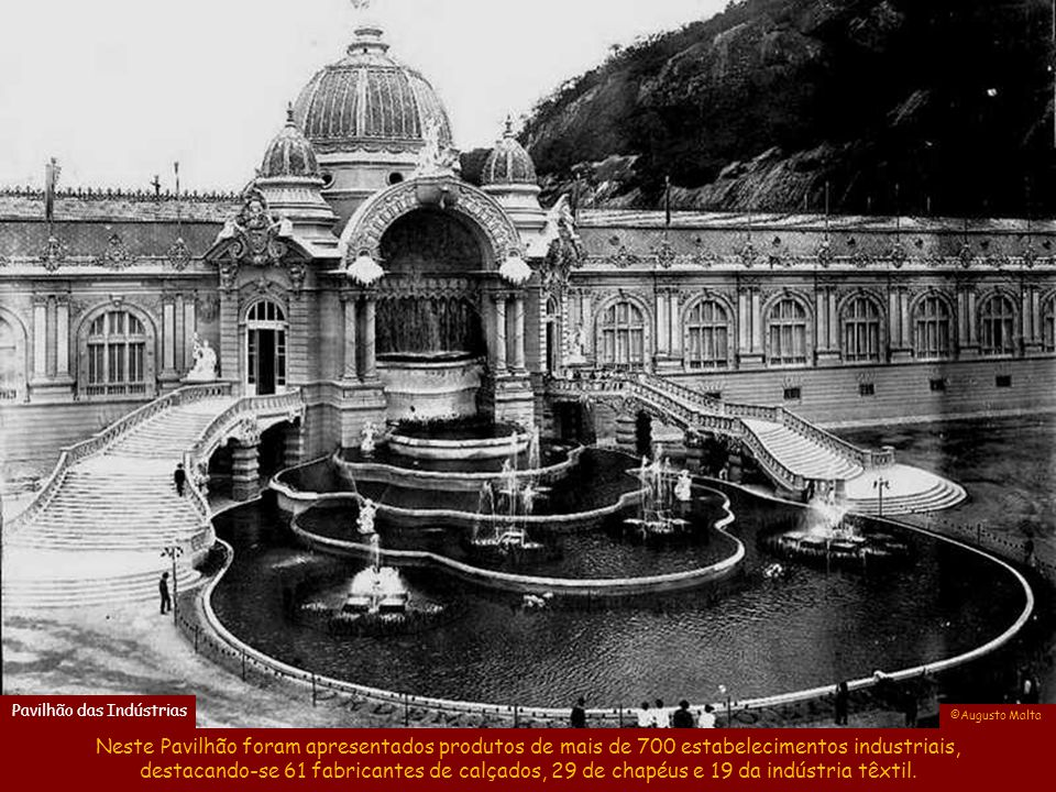 O Pavilhão das Indústrias era a antiga Escola Militar, que após a Exposição se transformou no 3ª Regimento de Infantaria, o qual foi bombardeado na re