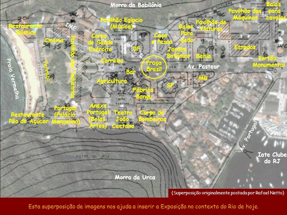 19 – Casa de Santa Catarina 20 – Bar 21 – Cinema 22 – Indústria Herm Stoltz 23 – Fábrica Bangu 24 – Corpo de Bombeiros 25 – Pavilhão Egípcio (Música)