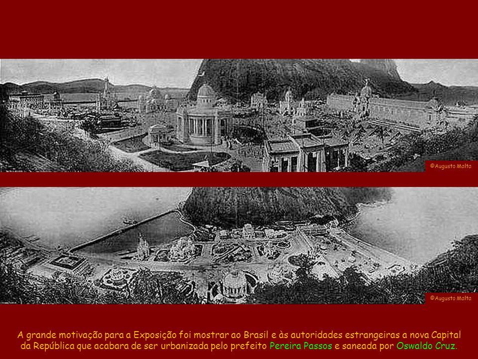 A Exposição Nacional do Centenário da Abertura dos Portos ocorreu entre 11/Ago e 15/Nov/1908 na Praia Vermelha, num tempo romântico onde as obras eram