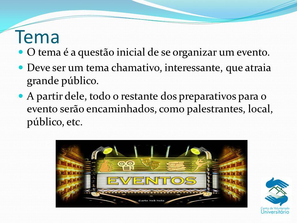 Tema O tema é a questão inicial de se organizar um evento. Deve ser um tema chamativo, interessante, que atraia grande público. A partir dele, todo o