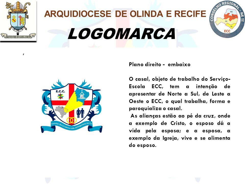LOGOMARCA ARQUIDIOCESE DE OLINDA E RECIFE, Plano direito - embaixo O casal, objeto de trabalho do Serviço- Escola ECC, tem a intenção de apresentar de