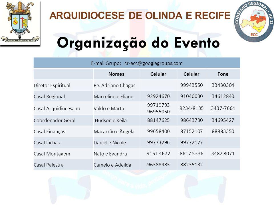Organização do Evento ARQUIDIOCESE DE OLINDA E RECIFE E-mail Grupo: cr-ecc@googlegroups.com NomesCelular Fone Diretor EspiritualPe. Adriano Chagas 999