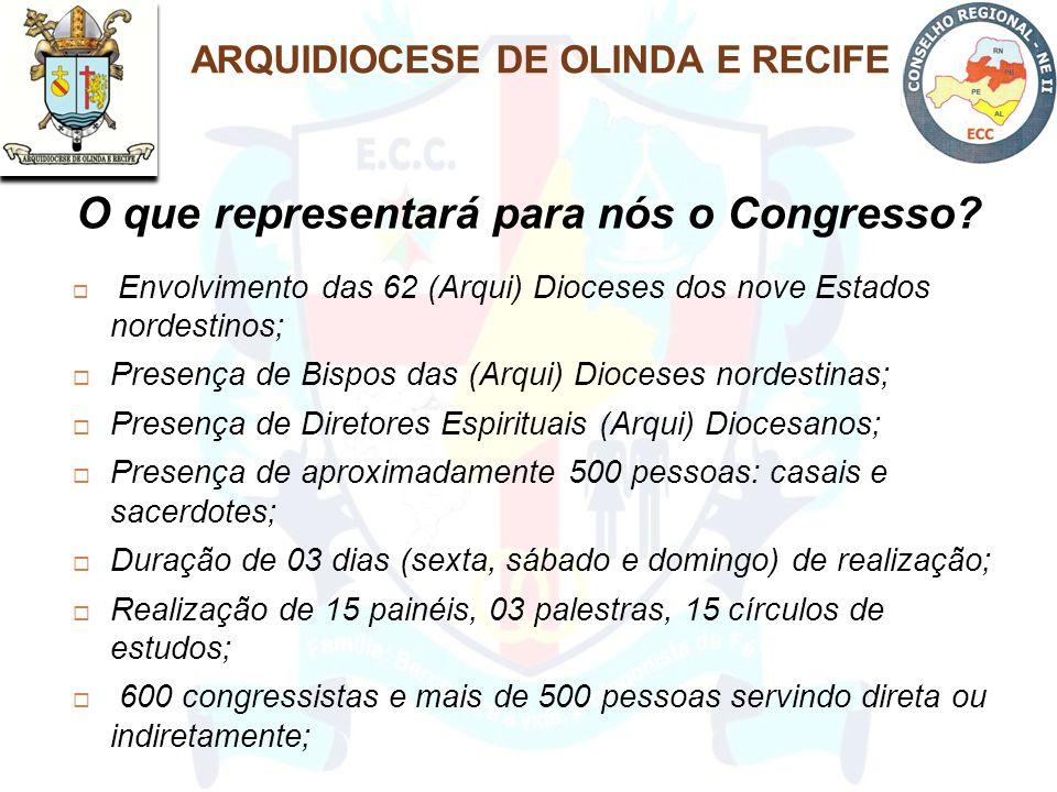  Envolvimento das 62 (Arqui) Dioceses dos nove Estados nordestinos;  Presença de Bispos das (Arqui) Dioceses nordestinas;  Presença de Diretores Es