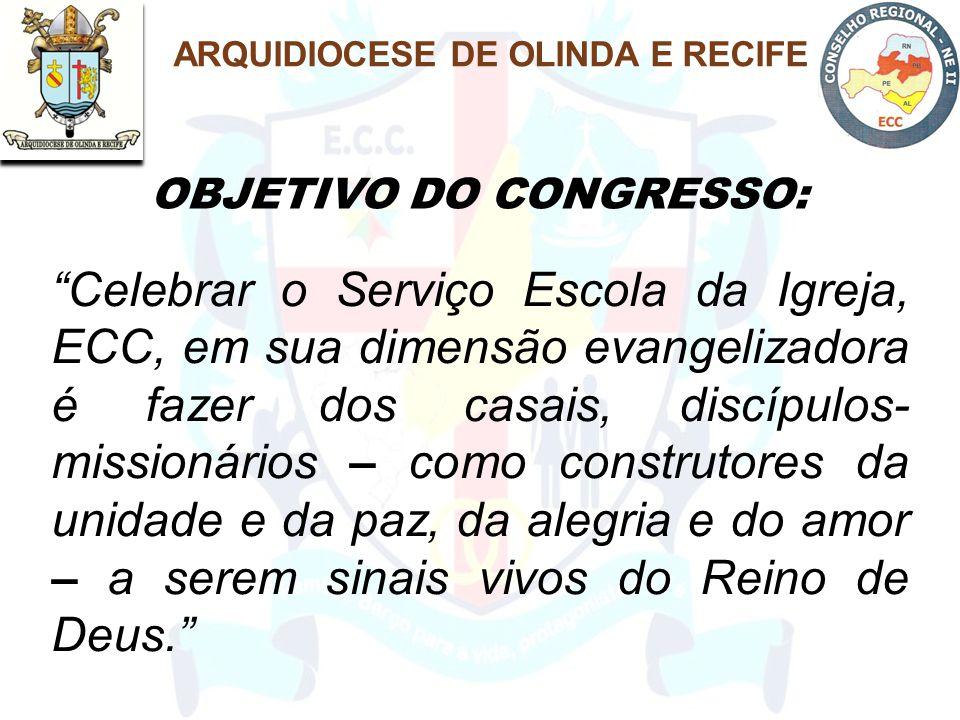 """""""Celebrar o Serviço Escola da Igreja, ECC, em sua dimensão evangelizadora é fazer dos casais, discípulos- missionários – como construtores da unidade"""