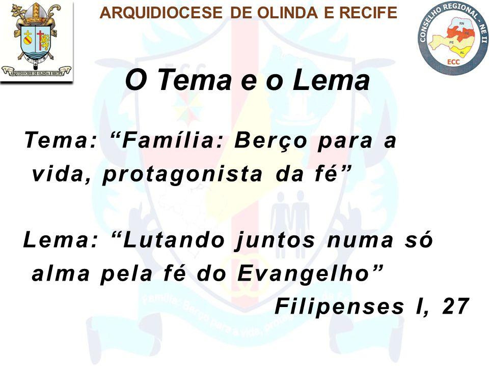 O Tema e o Lema ARQUIDIOCESE DE OLINDA E RECIFE Tema: Família: Berço para a vida, protagonista da fé Lema: Lutando juntos numa só alma pela fé do Evangelho Filipenses I, 27