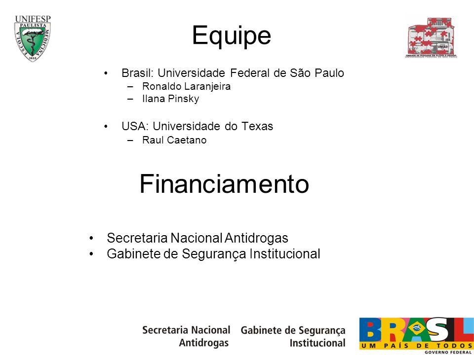 Equipe Brasil: Universidade Federal de São Paulo –Ronaldo Laranjeira –Ilana Pinsky USA: Universidade do Texas –Raul Caetano Financiamento Secretaria N