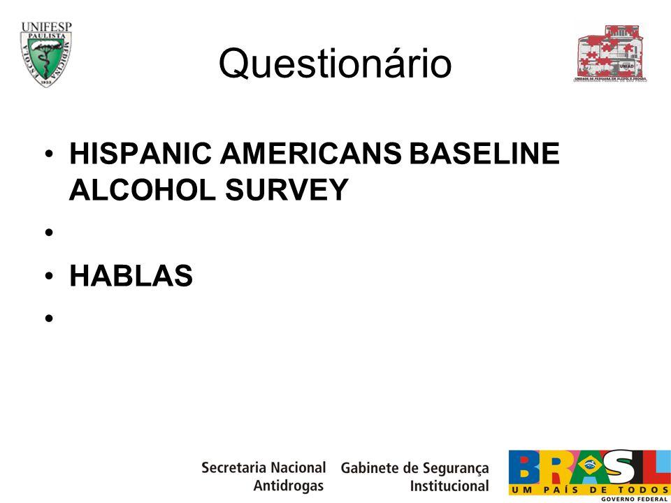 Questionário 1 – Dados sócio-demográficos 2 – Padrão de consumo de álcool 3 – Dirigir alcoolizado 4 – Efeitos prejudiciais do beber 5 – Dependência pelo CIDI 6 – Formas de tratamento álcool