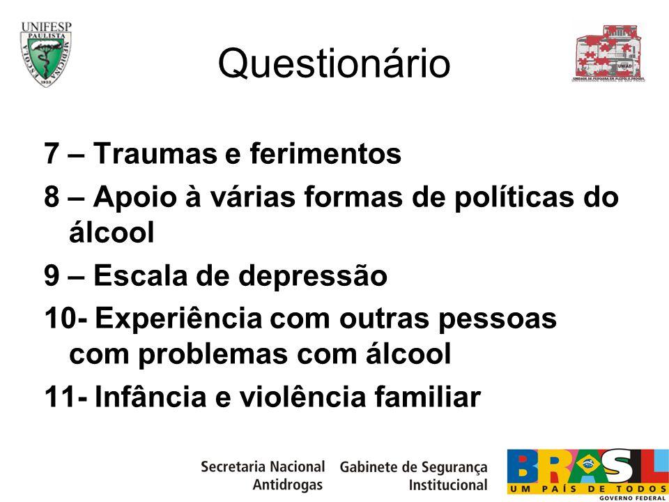Questionário 7 – Traumas e ferimentos 8 – Apoio à várias formas de políticas do álcool 9 – Escala de depressão 10- Experiência com outras pessoas com