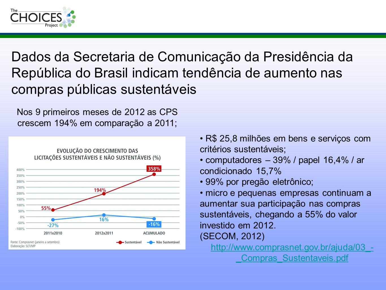 R$ 25,8 milhões em bens e serviços com critérios sustentáveis; computadores – 39% / papel 16,4% / ar condicionado 15,7% 99% por pregão eletrônico; mic