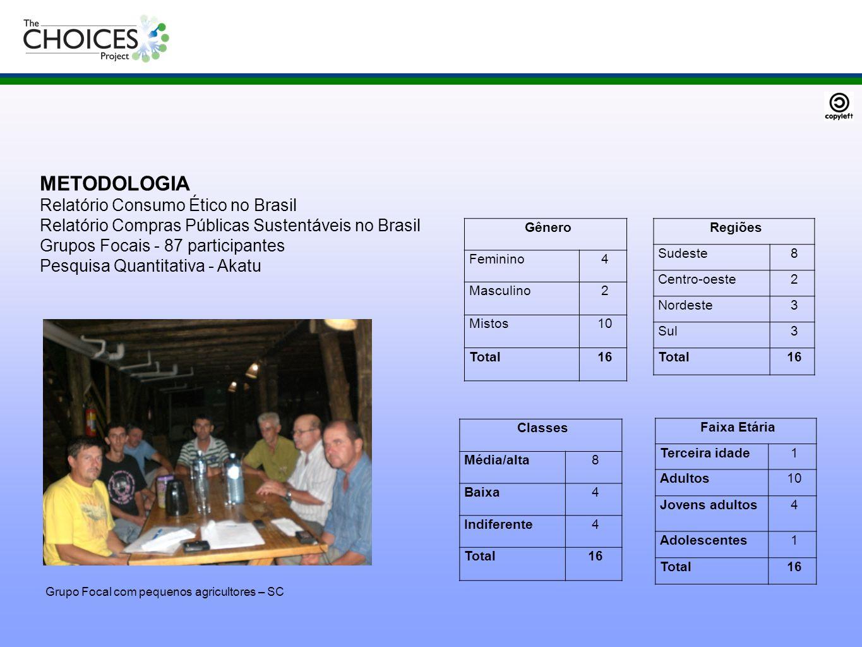 METODOLOGIA Relatório Consumo Ético no Brasil Relatório Compras Públicas Sustentáveis no Brasil Grupos Focais - 87 participantes Pesquisa Quantitativa