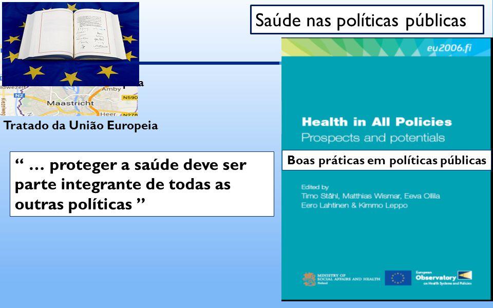 Tratado da União Europeia … proteger a saúde deve ser parte integrante de todas as outras políticas Saúde nas políticas públicas Boas práticas em políticas públicas