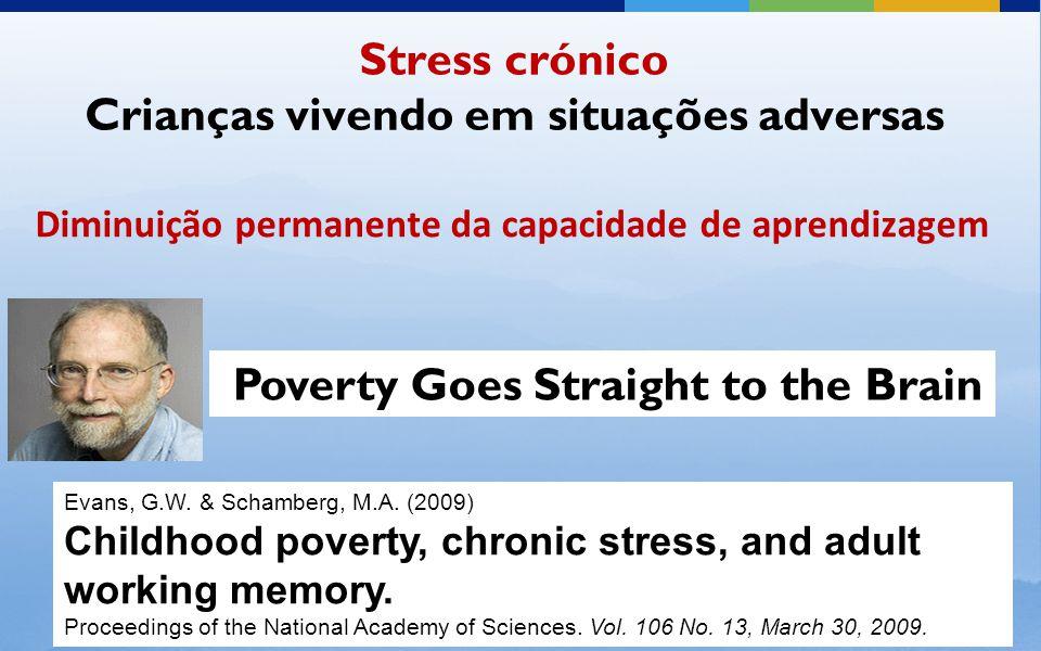 Diminuição permanente da capacidade de aprendizagem Stress crónico Crianças vivendo em situações adversas Evans, G.W.