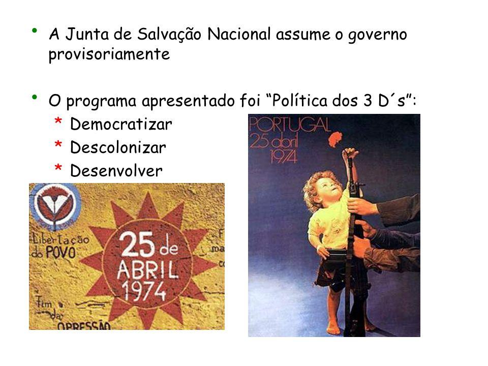 """A Junta de Salvação Nacional assume o governo provisoriamente O programa apresentado foi """"Política dos 3 D´s"""": *D*Democratizar *D*Descolonizar *D*Dese"""