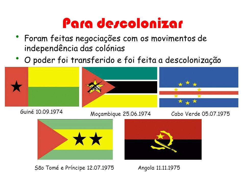 Para descolonizar Foram feitas negociações com os movimentos de independência das colónias O poder foi transferido e foi feita a descolonização Guiné