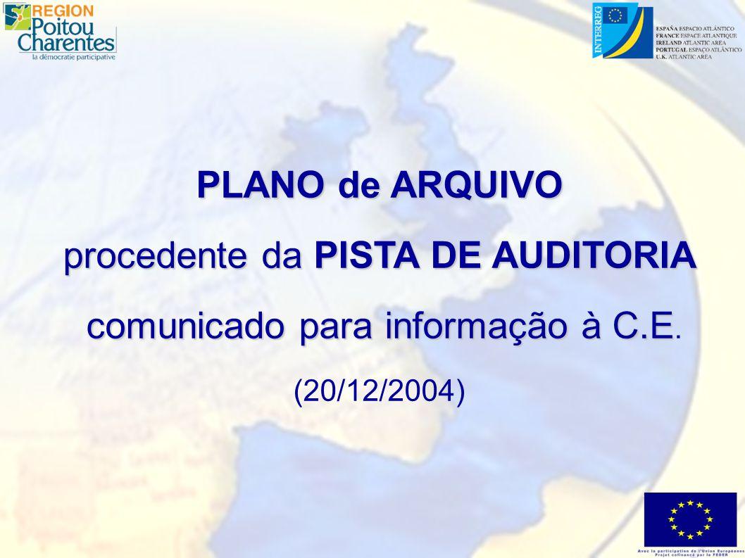 PLANO de ARQUIVO procedente da PISTA DE AUDITORIA comunicado para informação à C.E comunicado para informação à C.E.