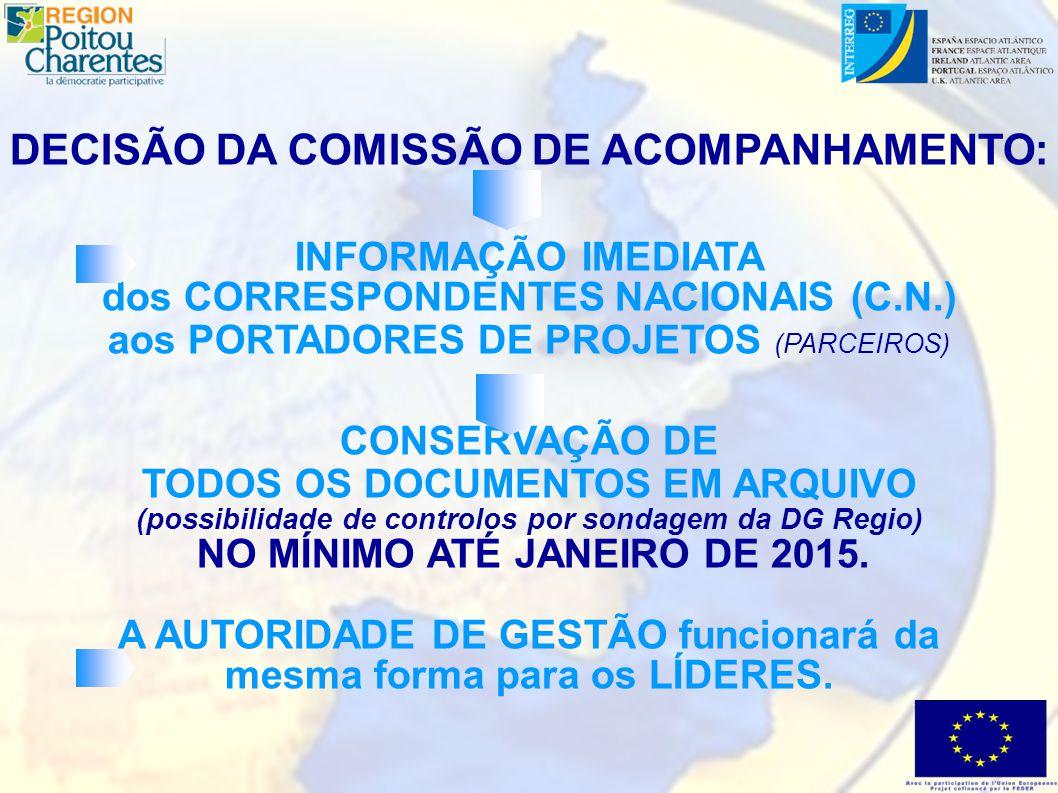 DECISÃO DA COMISSÃO DE ACOMPANHAMENTO: INFORMAÇÃO IMEDIATA dos CORRESPONDENTES NACIONAIS (C.N.) aos PORTADORES DE PROJETOS (PARCEIROS) CONSERVAÇÃO DE TODOS OS DOCUMENTOS EM ARQUIVO (possibilidade de controlos por sondagem da DG Regio) NO MÍNIMO ATÉ JANEIRO DE 2015.