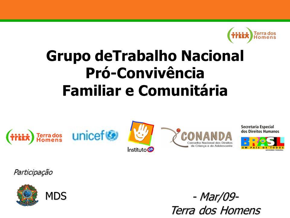 GT – objetivo geral Fomentar a implementação do Plano Nacional do Direito de Crianças e Adolescentes à Convivência Familiar e Comunitária em âmbito nacional.