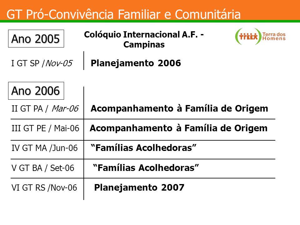 GT Pró-Convivência Familiar e Comunitária Ano 2005 I GT SP /Nov-05 Planejamento 2006 Ano 2006 II GT PA / Mar-06 Acompanhamento à Família de Origem III