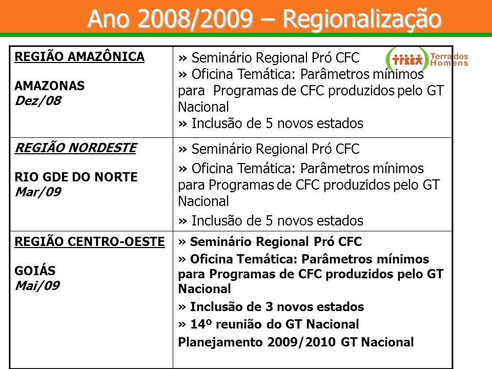 REGIÃO AMAZÔNICA AMAZONAS Dez/08 » Seminário Regional Pró CFC » Oficina Temática: Parâmetros mínimos para Programas de CFC produzidos pelo GT Nacional » Inclusão de 5 novos estados REGIÃO NORDESTE RIO GDE DO NORTE Mar/09 » Seminário Regional Pró CFC » Oficina Temática: Parâmetros mínimos para Programas de CFC produzidos pelo GT Nacional » Inclusão de 5 novos estados REGIÃO CENTRO-OESTE GOIÁS Mai/09 » Seminário Regional Pró CFC » Oficina Temática: Parâmetros mínimos para Programas de CFC produzidos pelo GT Nacional » Inclusão de 3 novos estados » 14º reunião do GT Nacional Planejamento 2009/2010 GT Nacional Ano 2008/2009 – Regionalização