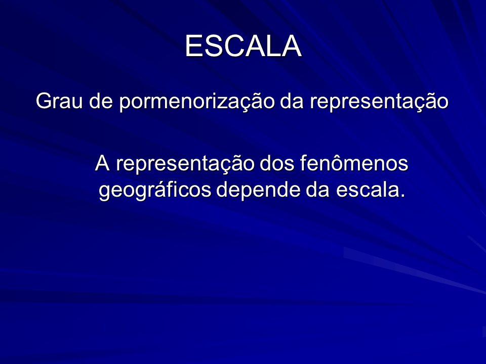 ESCALA Grau de pormenorização da representação Grau de pormenorização da representação A representação dos fenômenos geográficos depende da escala.