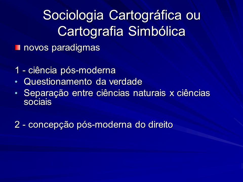 Sociologia Cartográfica ou Cartografia Simbólica novos paradigmas 1 - ciência pós-moderna Questionamento da verdade Questionamento da verdade Separaçã