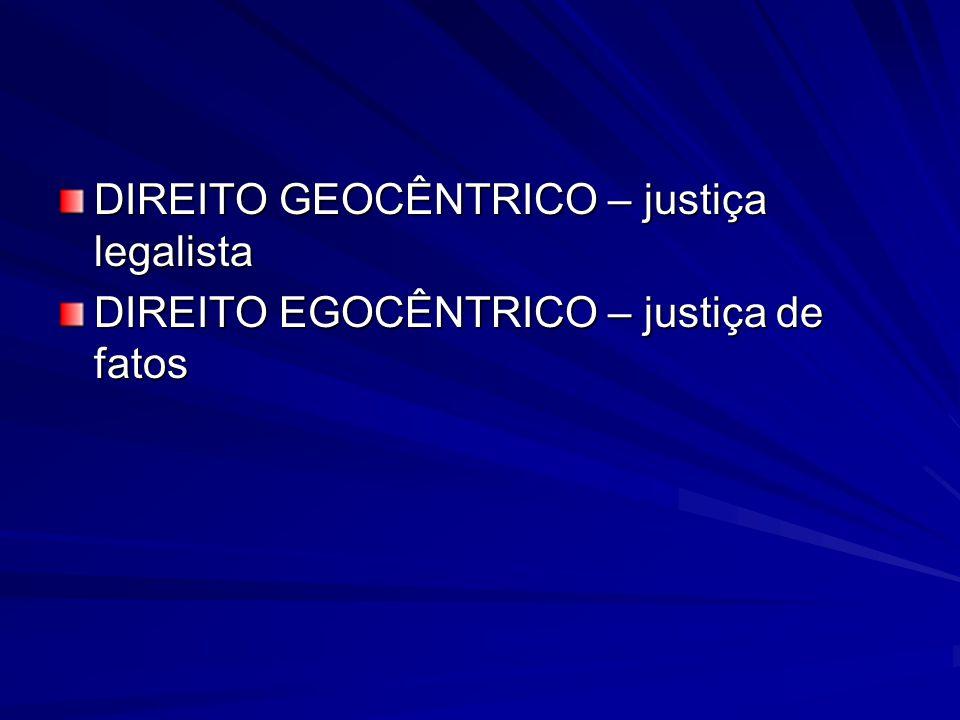 DIREITO GEOCÊNTRICO – justiça legalista DIREITO EGOCÊNTRICO – justiça de fatos
