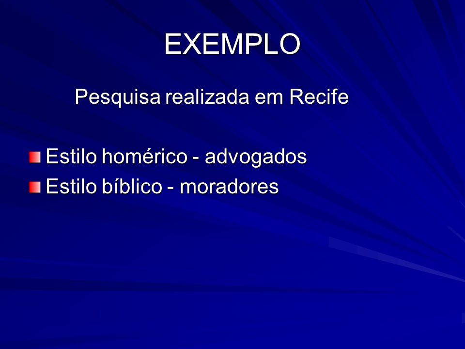 EXEMPLO Pesquisa realizada em Recife Estilo homérico - advogados Estilo bíblico - moradores