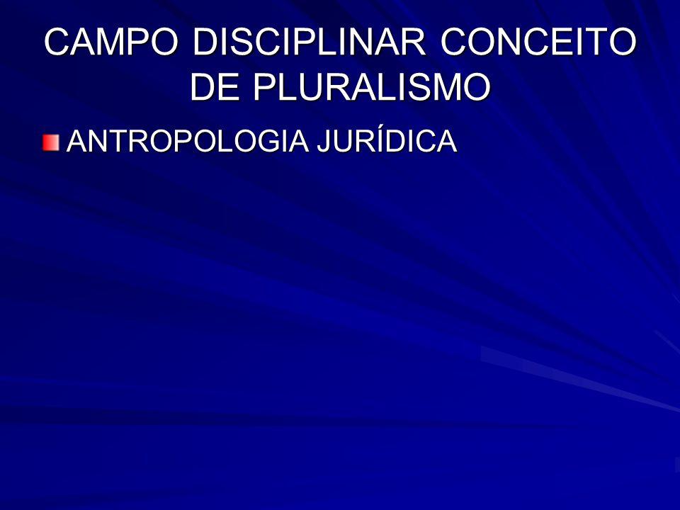 CAMPO DISCIPLINAR CONCEITO DE PLURALISMO ANTROPOLOGIA JURÍDICA