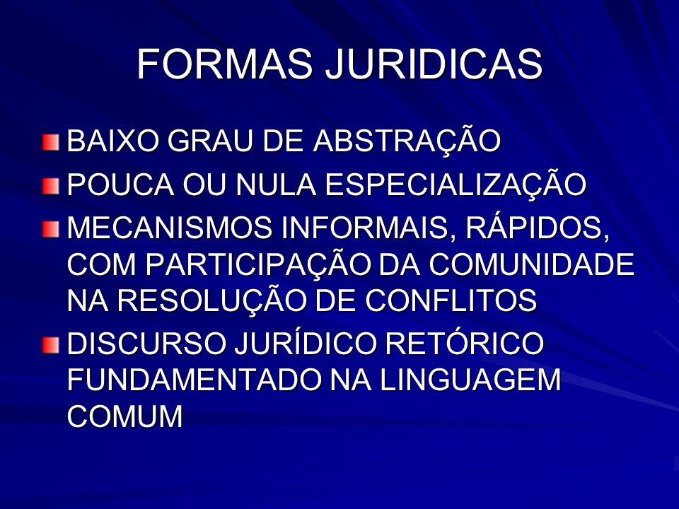 FORMAS JURIDICAS BAIXO GRAU DE ABSTRAÇÃO POUCA OU NULA ESPECIALIZAÇÃO MECANISMOS INFORMAIS, RÁPIDOS, COM PARTICIPAÇÃO DA COMUNIDADE NA RESOLUÇÃO DE CO