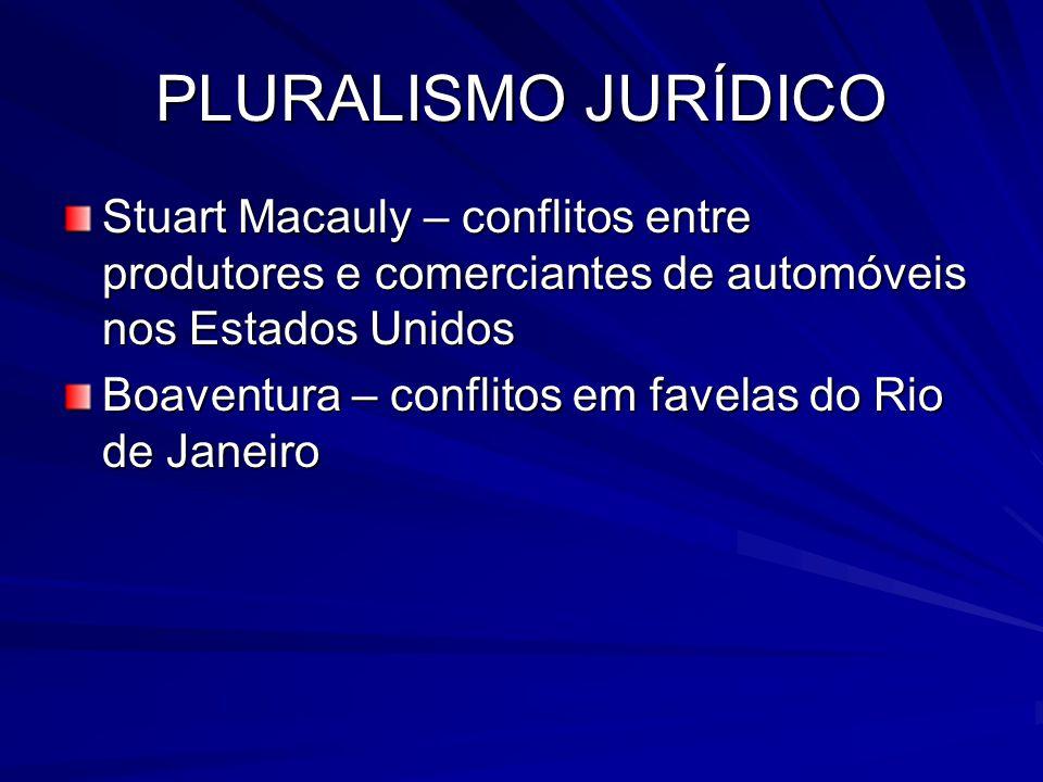 PLURALISMO JURÍDICO Stuart Macauly – conflitos entre produtores e comerciantes de automóveis nos Estados Unidos Boaventura – conflitos em favelas do R