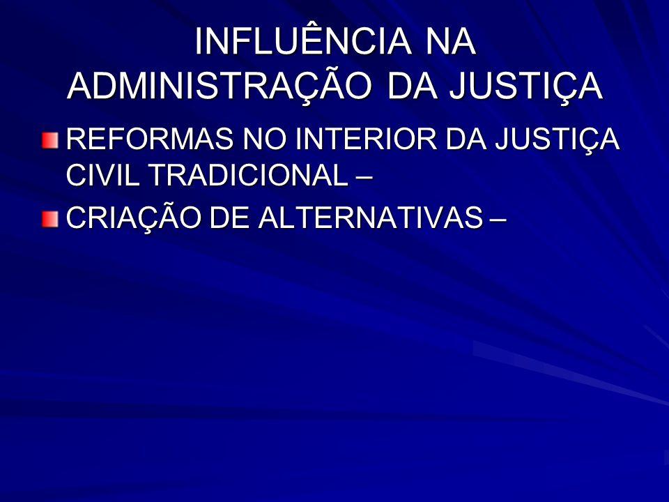 INFLUÊNCIA NA ADMINISTRAÇÃO DA JUSTIÇA REFORMAS NO INTERIOR DA JUSTIÇA CIVIL TRADICIONAL – CRIAÇÃO DE ALTERNATIVAS –