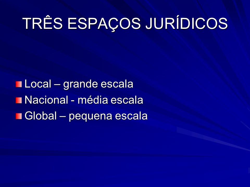 TRÊS ESPAÇOS JURÍDICOS Local – grande escala Nacional - média escala Global – pequena escala