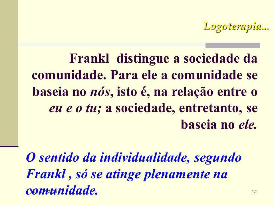 14/9/2014 21:38 123 Logoterapia... 2. No plano da comunidade humana. O pensamento de Frankl coincide com o de Mounier, que mantém abertas para o outro