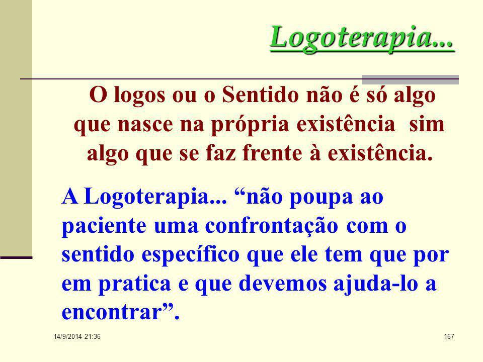 14/9/2014 21:38 166 Logoterapia... A autotranscendência exige a complementação de um sentido. Na verdade, o homem não deve perguntar pelo sentido da e