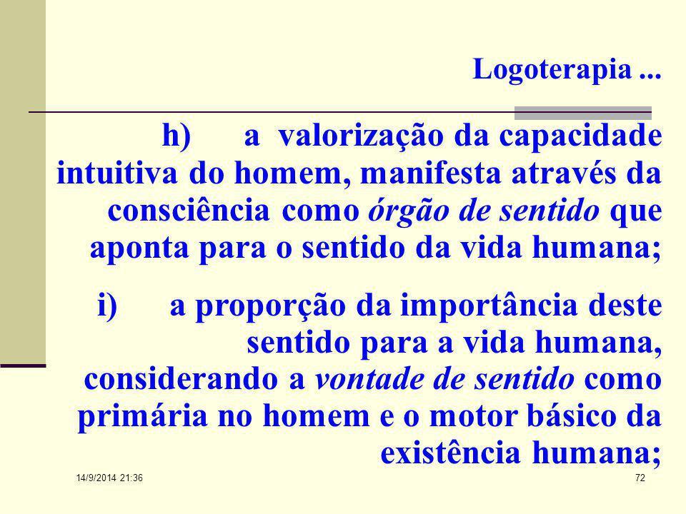 14/9/2014 21:38 71 Logoterapia... g) uma reação à aceitação incondicional do determinismo impulsivo psicofísico no homem, reconhecendo a impulsividade