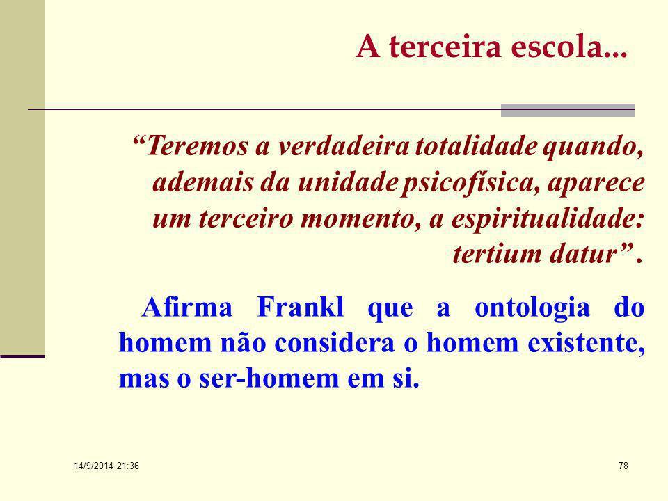 14/9/2014 21:38 77 A LOGOTERAPIA É UMA PSICOONTOLOGIA DIMENSIONAL DO SER HUMANO A Terceira Escola Vienense...