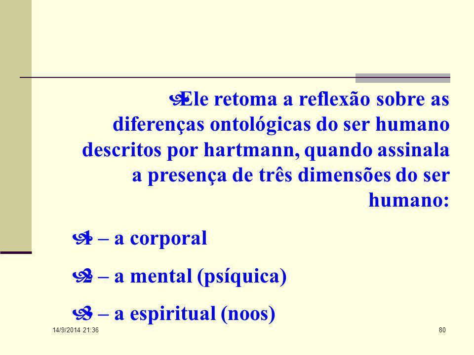 14/9/2014 21:38 79 Frankl inspirou-se na antropologia de Max Scheler e na ontologia de Hartmann, que afirmam existir um centro pessoal ao redor do qua