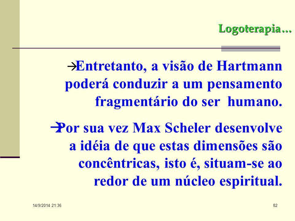 14/9/2014 21:38 81 Logoterapia...  Para Hartmann estas dimensões são hierarquicamente estruturadas, sendo que o ápice pertence ao noético.  No senti