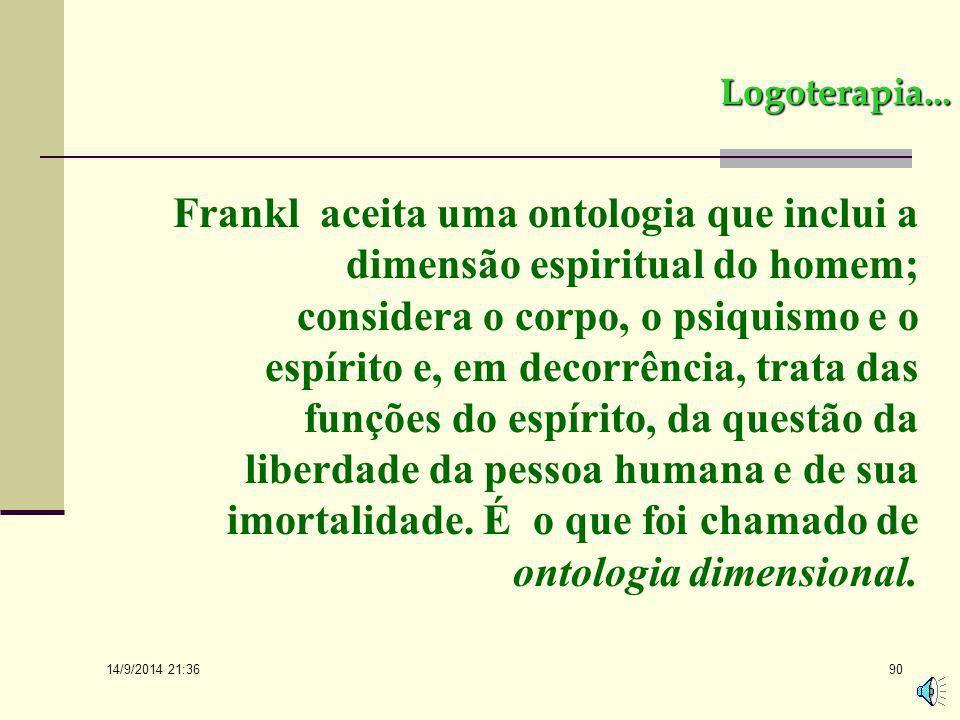 14/9/2014 21:38 89 Logoterapia... Frankl lembra que os atos psíquicos não são localizáveis, o que há são condições somáticas. Afirma que não há sede d