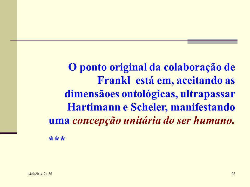 14/9/2014 21:38 97 Para Frankl, a formaulação do antagonismo psiconoético expressa a capacidade espiritual da pessoa em enfrentar os condicionamentos